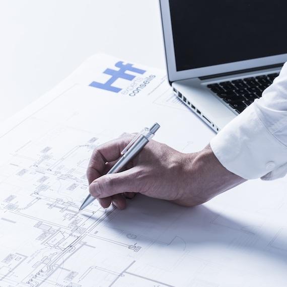 Vue d'un plan préparé par HF Experts-Conseils, firme de génie-conseil spécialisée en mécanique (HVAC/CVAC) et électricité du bâtiment